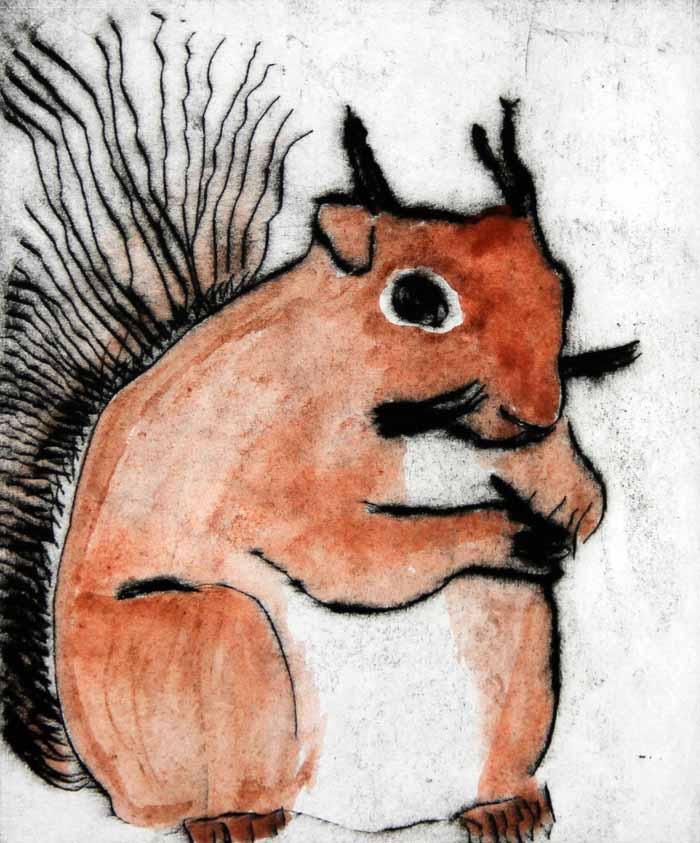 Red Squirrel   drypoint  and watercolour  15 x 12.5 cm  £225 unframed
