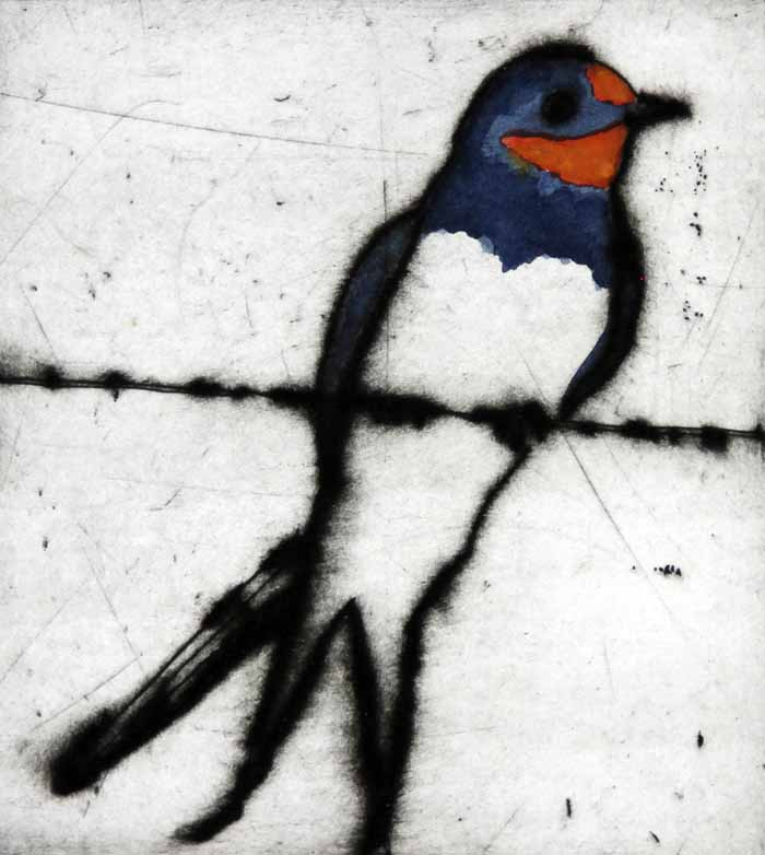 Summer Swallow   drypoint  and watercolour  14 x 12.5 cm  £199 unframed