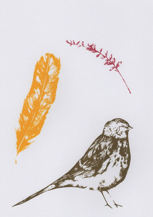 Twite, Feather and Heather  screenprint  21cm x 29.5cm  £28 (unframed)