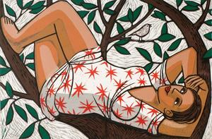 Anita Klein  Resting in a Tree   linocut   £680
