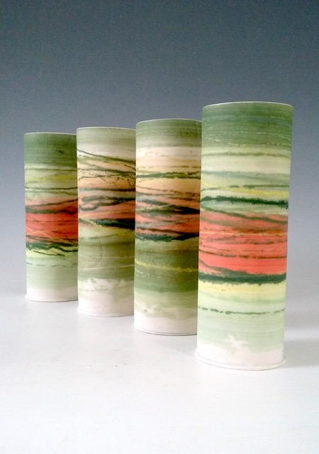 Medium Thin Vessels  Mono-printed porcelain  £68 each  17cm h x 6cm d