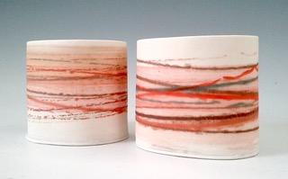 Small Wide Vessels  Mono-printed porcelain  £48 each  8.5cm h x 10cm d