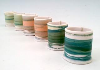 Thimble Vessels  Mono-printed porcelain  £18 each  4cm h x 3cm d