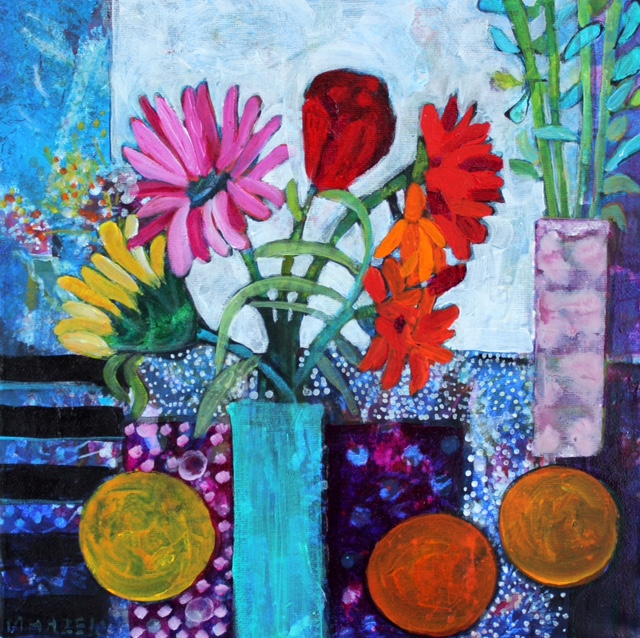 Lottie's flowers  Acrylic on box canvas  30x30cm 12x12ins  sold