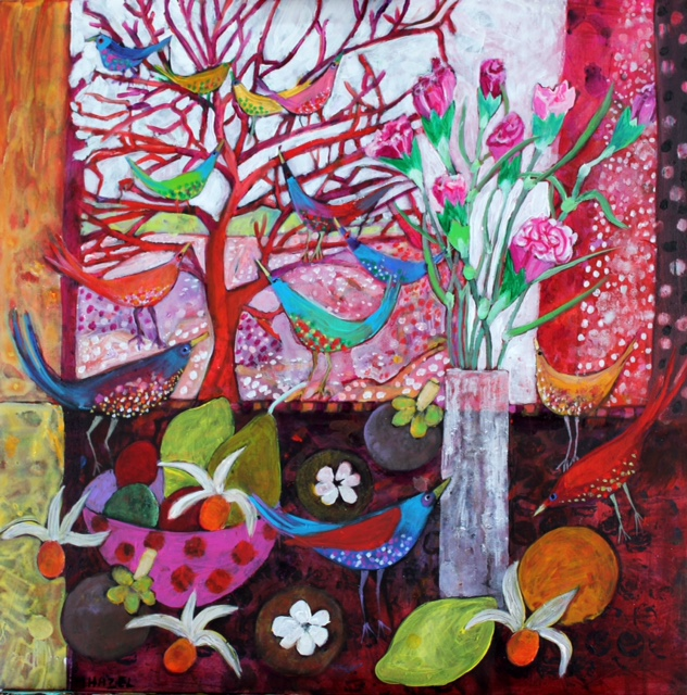 Pinks and birds  Acrylic on canvas  61x61cm 24x24ins