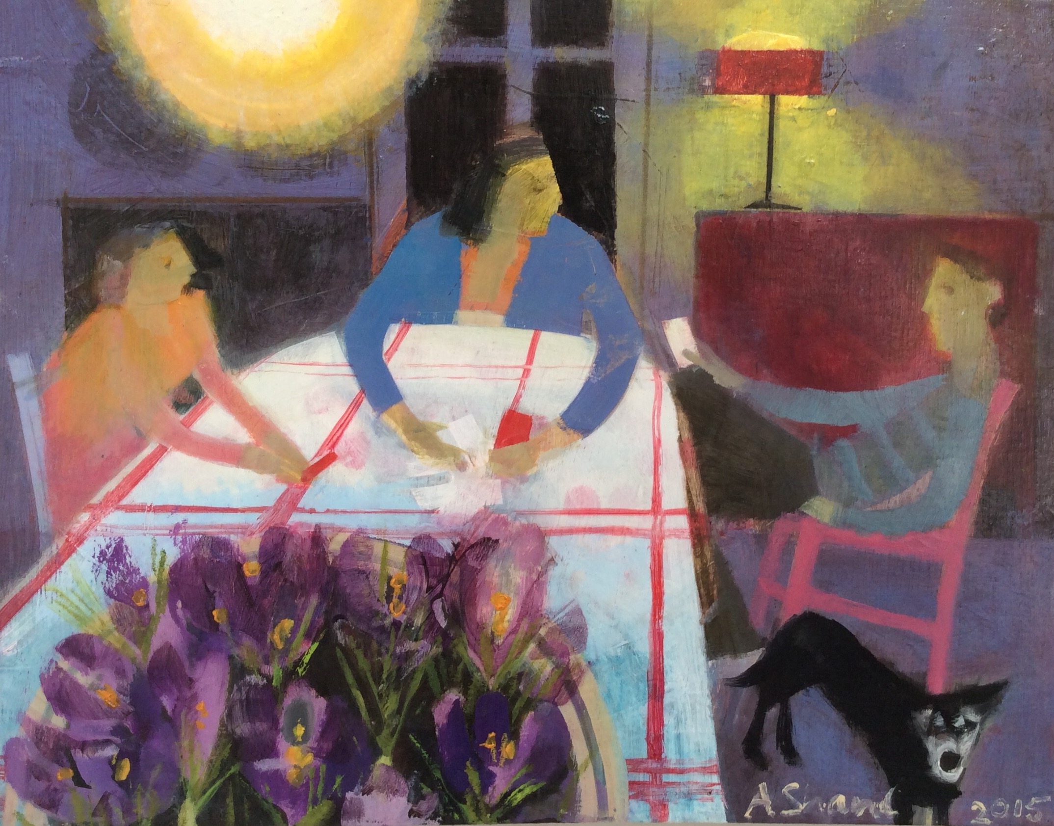 At The Kitchen Table  60x53cm  oil on board  sold