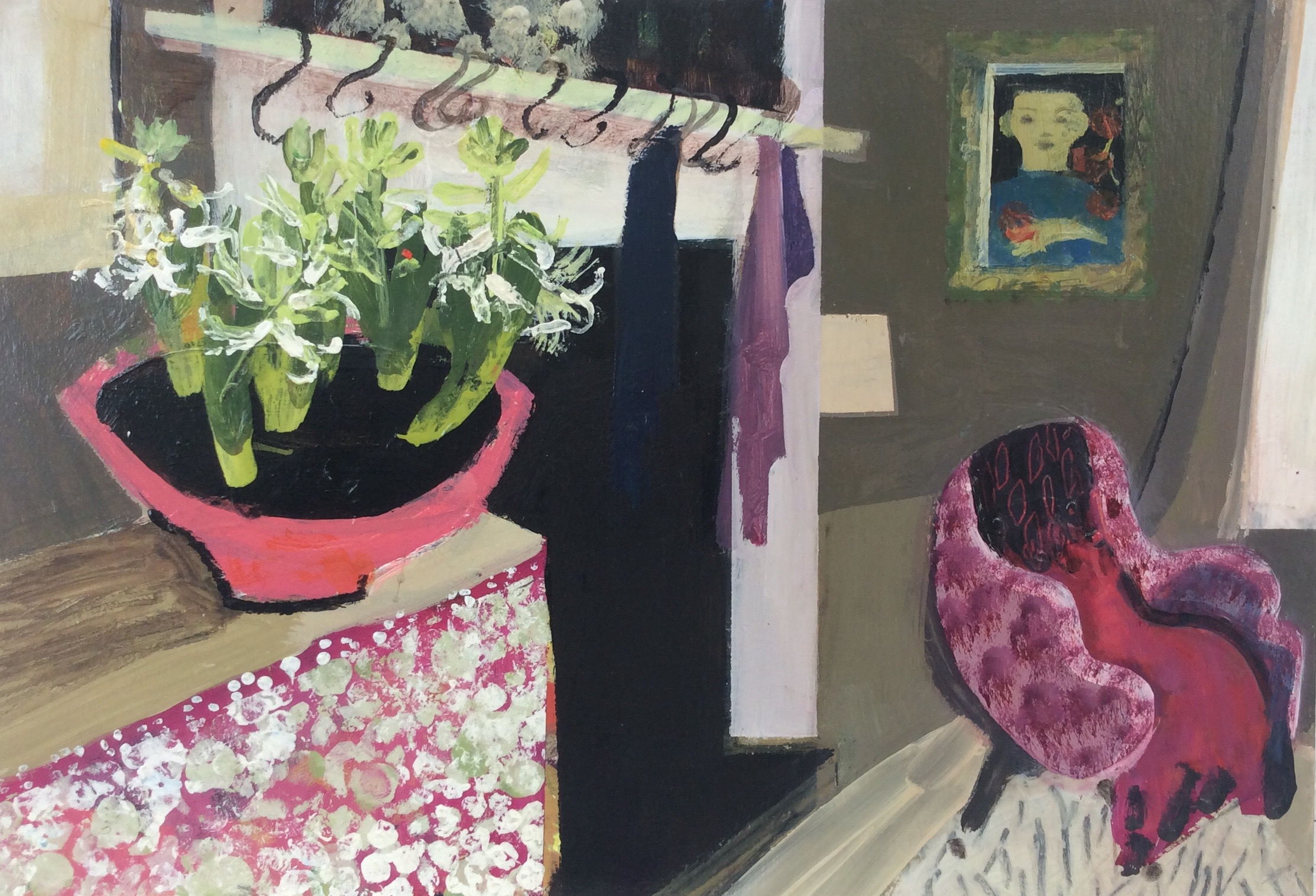 The Bowl of Hyacinths  52x60cm  mixed media  sold