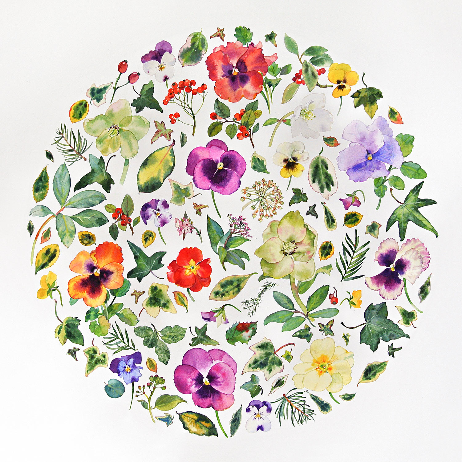 Winter Flower Circle with Pansies  watercolour    SOLD