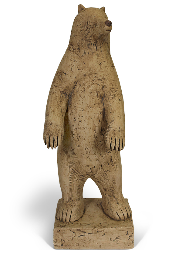 Sentinel Bear  hand built clay  53 x 20 cm      £1,300 (includes base - not pictured -for outdoor display)