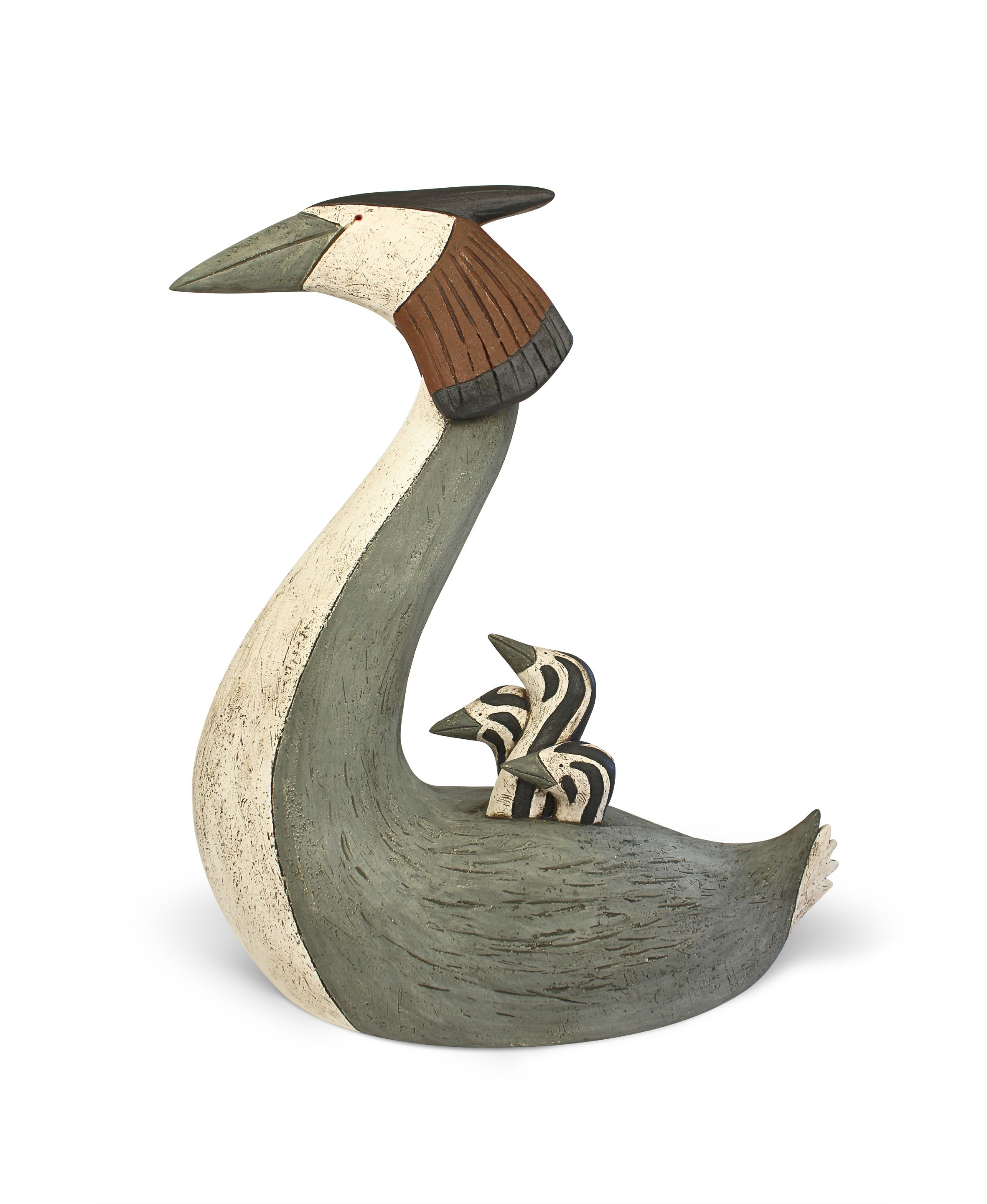 Grebe and chicks  hand built clay  38 x 32cm