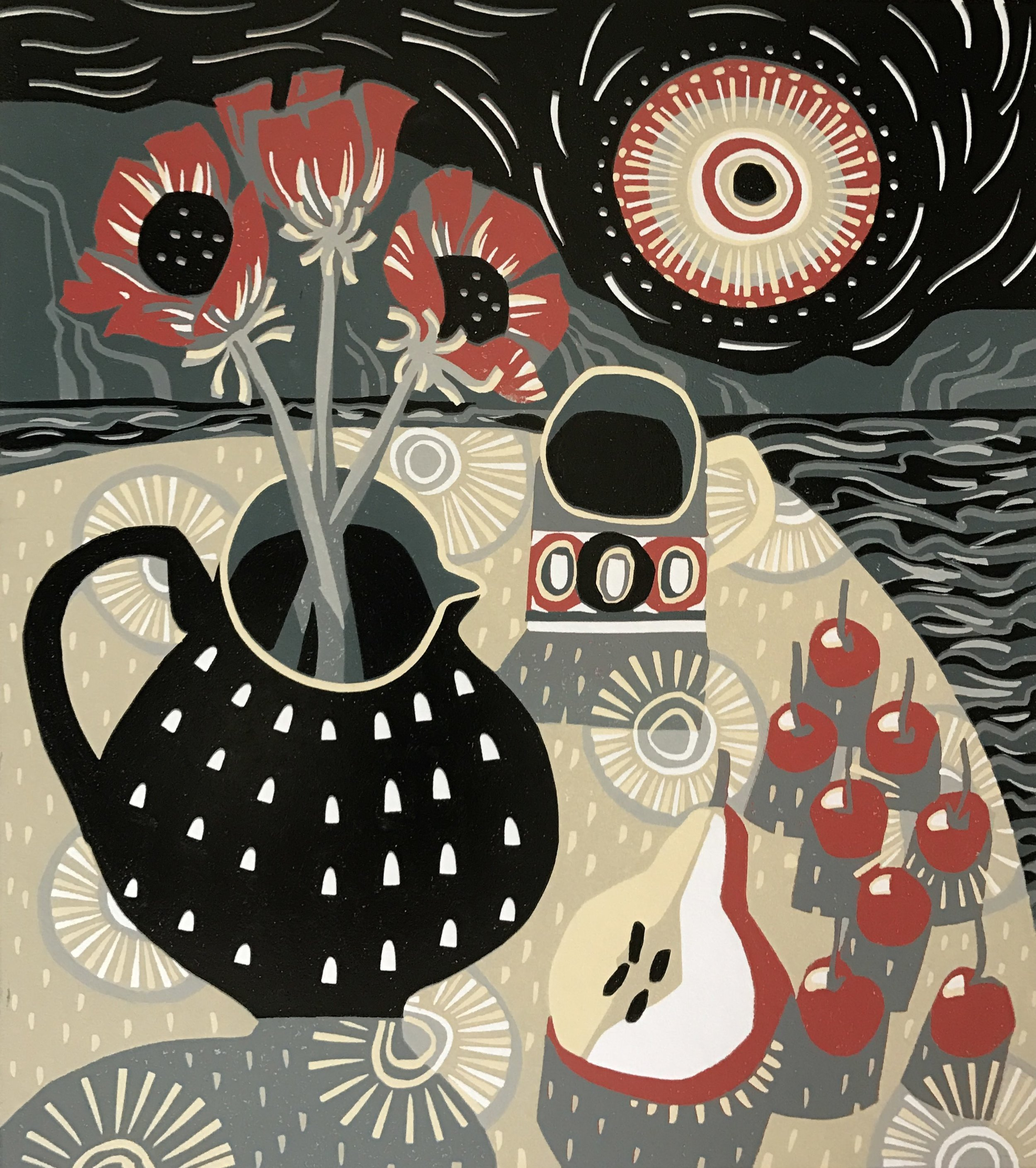 Spotted Jug, Pear and Cherries  Linocut  £275 Unframed