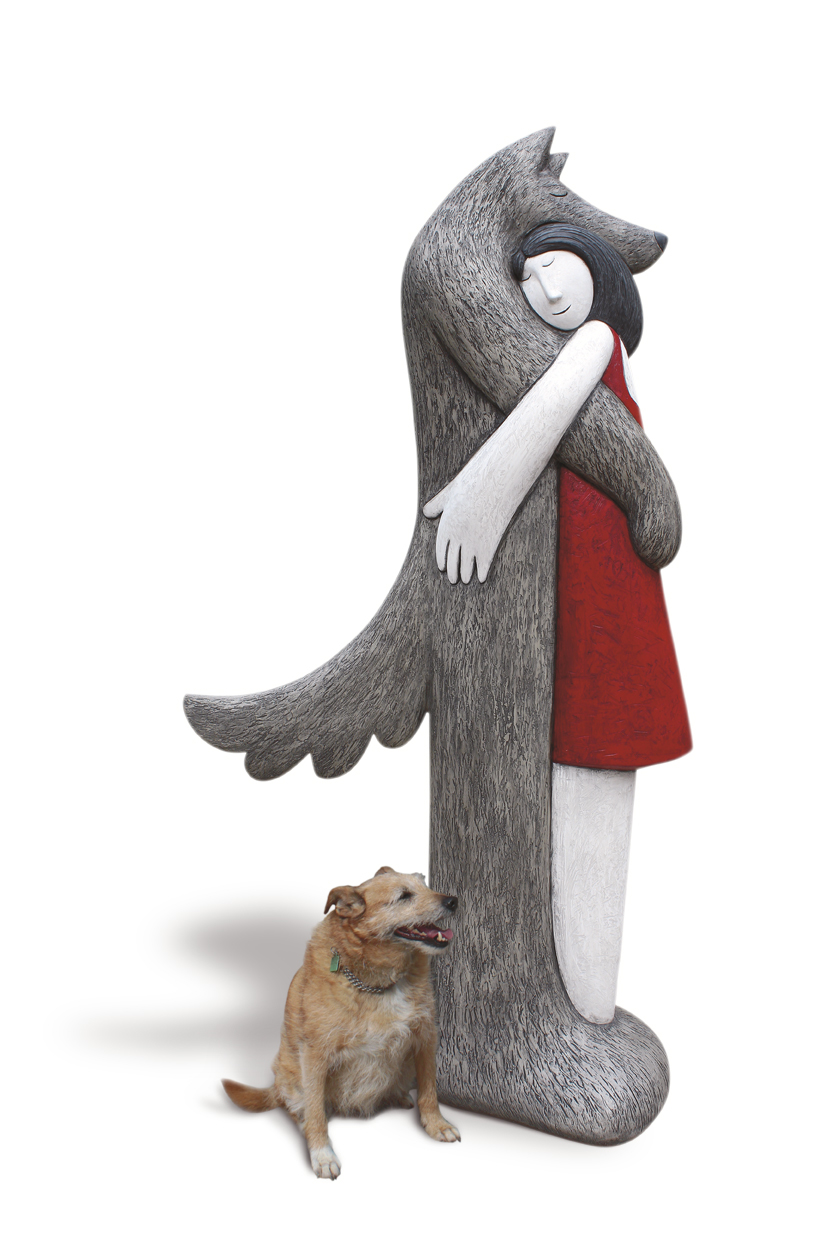 Strange Little Girl  Large six foot tall resin (dog not included!)  marble and slate resin  £4500