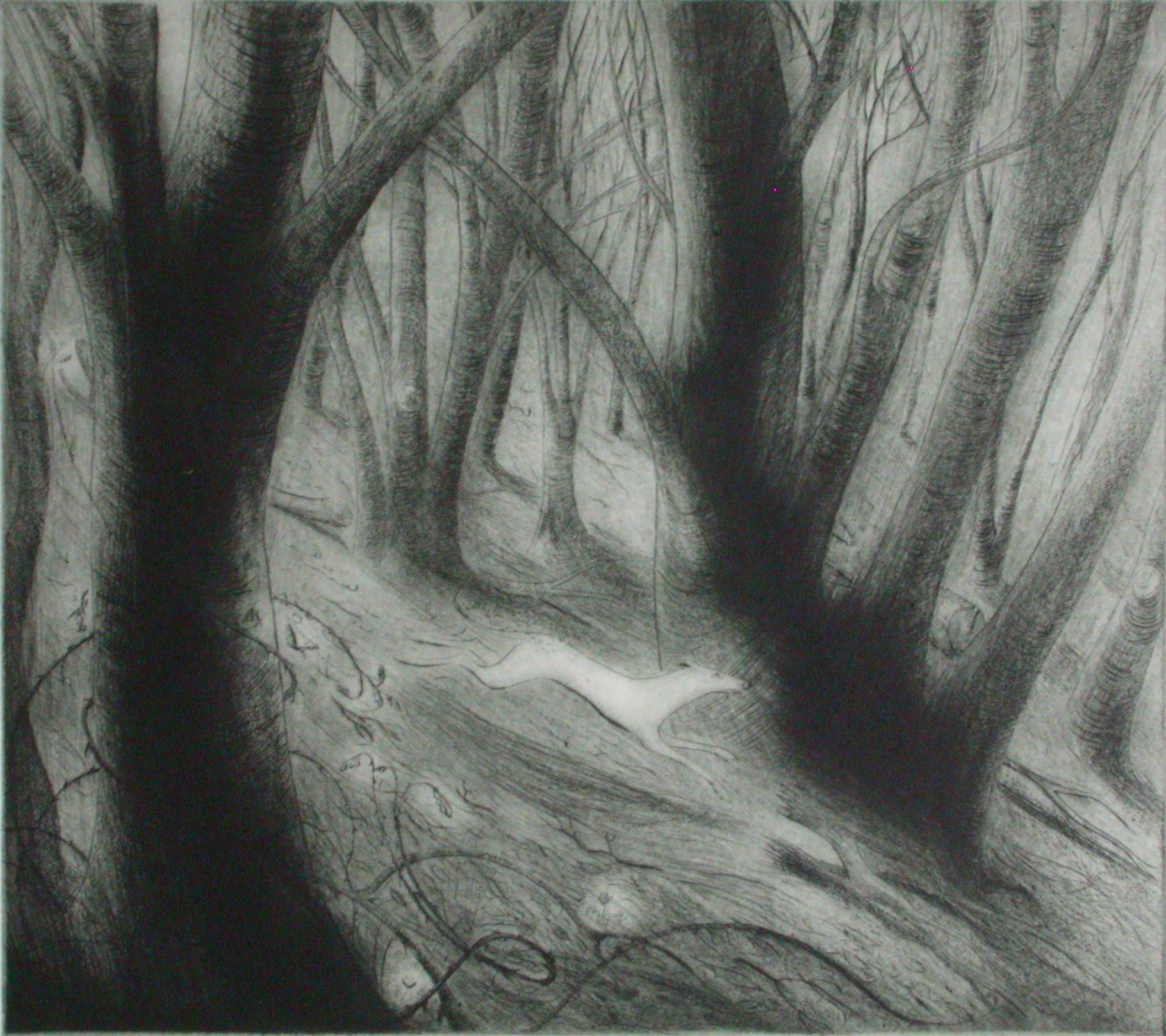 At The Turning of The Year  Drypoint  27 x 24 cm  £220 (Framed)  £175 (Unframed)