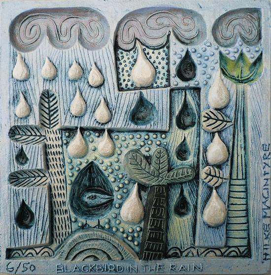 Blackbird in the Rain  ceramic  13 x 13 cm  Sold out