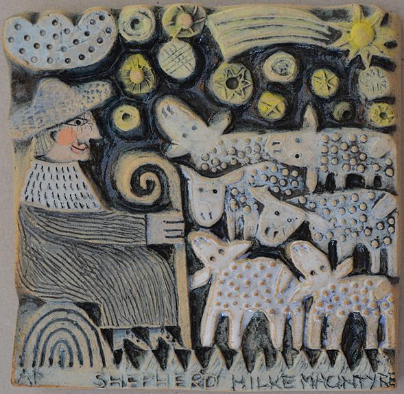 Shepherd  ceramic  10 x 10 cm  SOLD