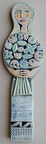 Flowers  ceramic  6 x 20 cm  SOLD