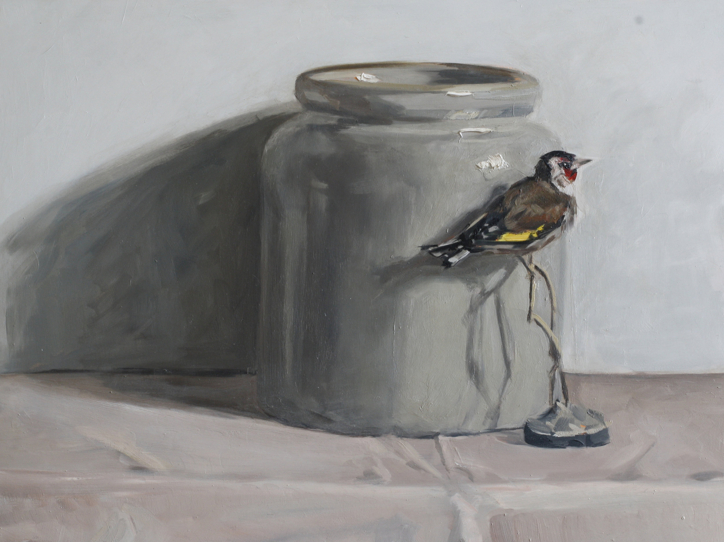 Confit Pot and Goldfinch  oil on gesso panel  30 x 40cm painting size  SOLD