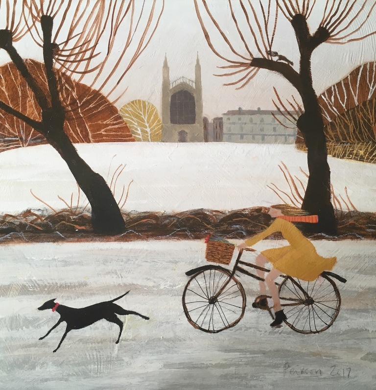 Cycling in the Snow  acrylic on panel  40 x 40 cm  SOLD