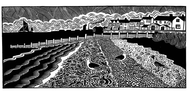 On the Waterfront  25cm x 56cm   linocut   £260 framed