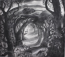 Midsummer  Etching  24 x 27 cm  £230 (Framed)  £180 (Unframed)