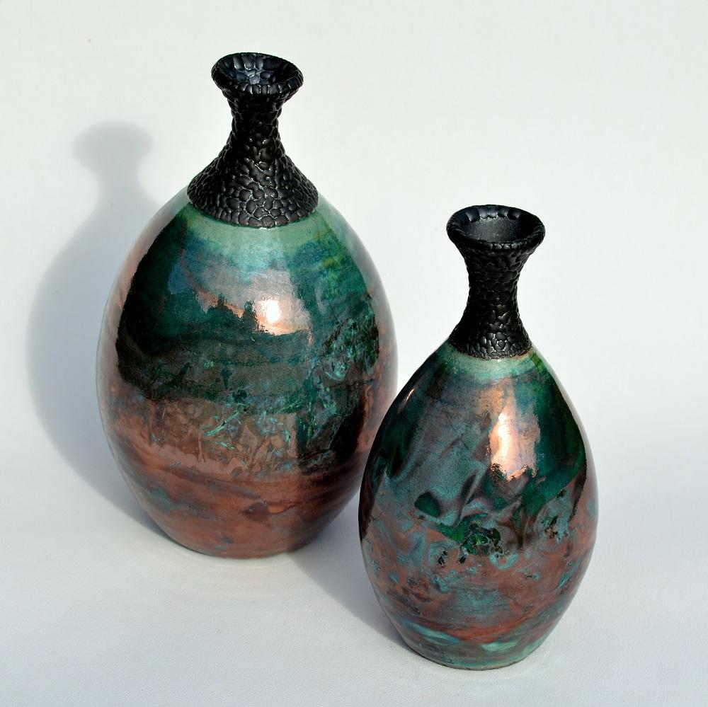 Raku Bottle  ceramic  16 x 8cm £35  20 x 11cm £55  23 x 13cm £85