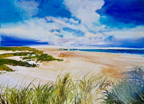Low tide at Holkham  61 x 50cm  acrylic on paper  SOLD