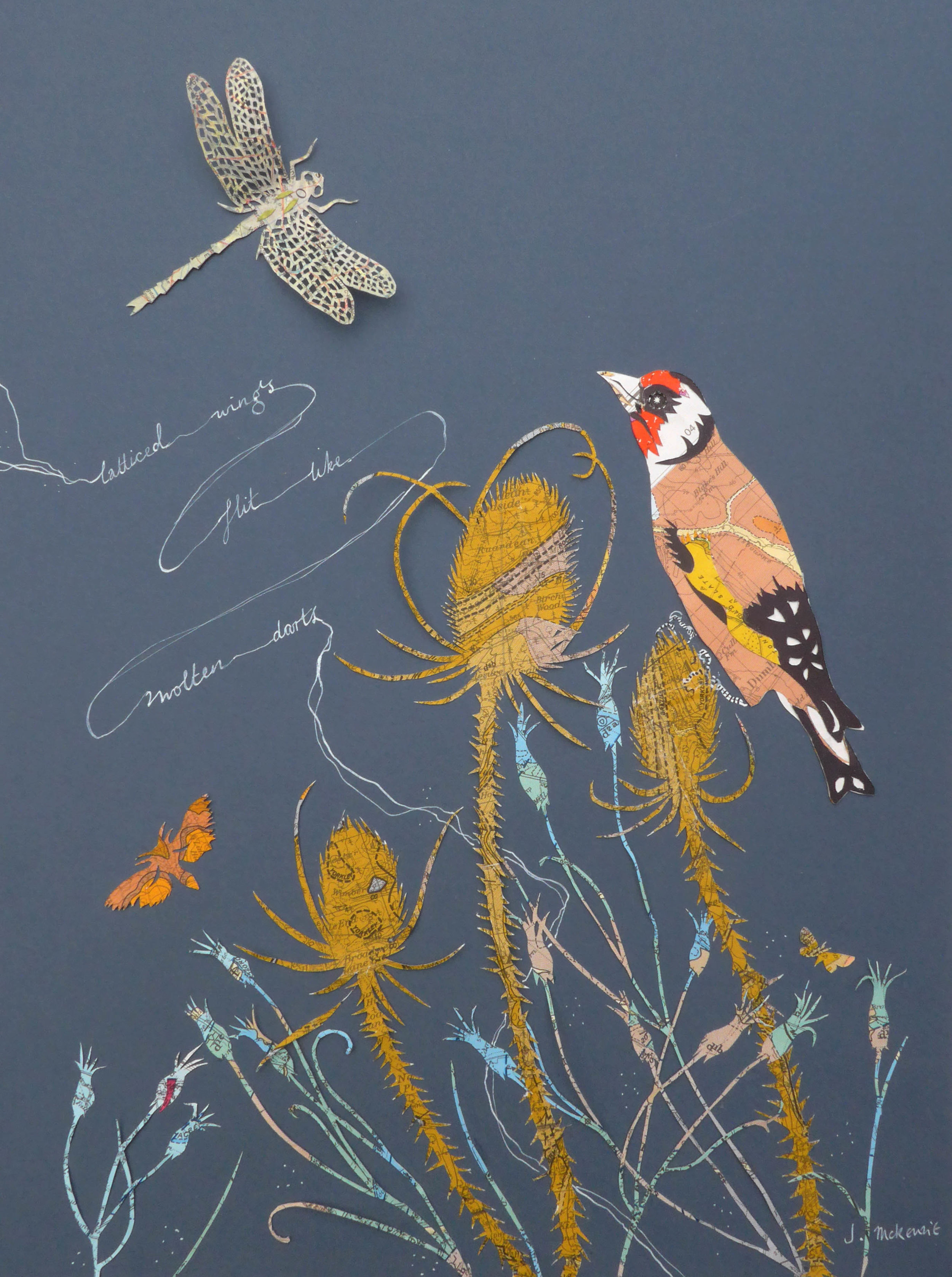Goldfinch and Teasel  hand cut vintage geological maps  30x40cm artwork size  33x43cm framed size  SOLD