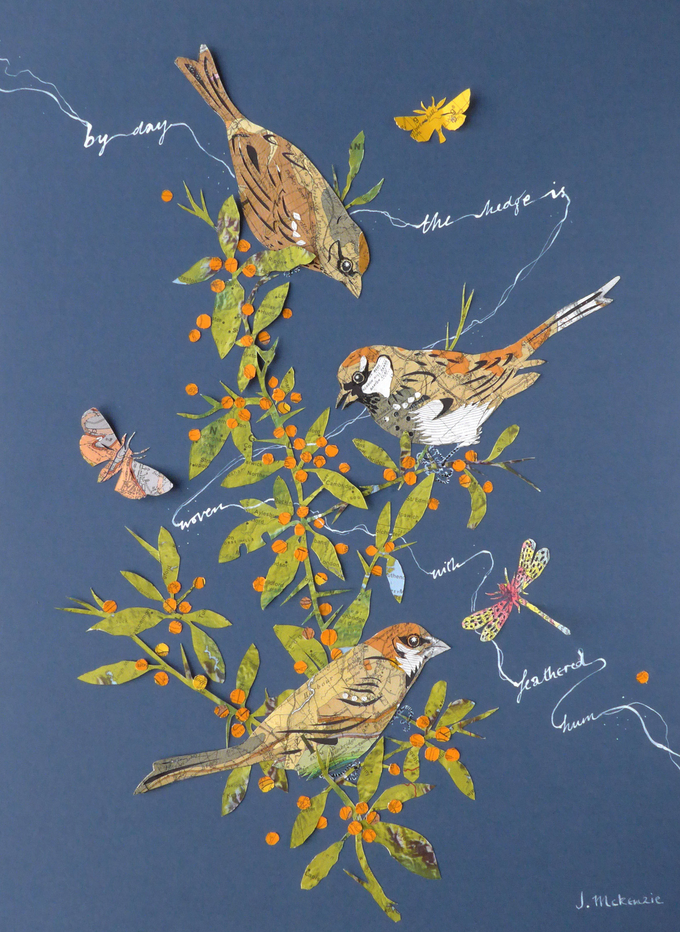 Sparrow and Pyracantha  hand cut vintage geological maps  30x40cm artwork size  SOLD
