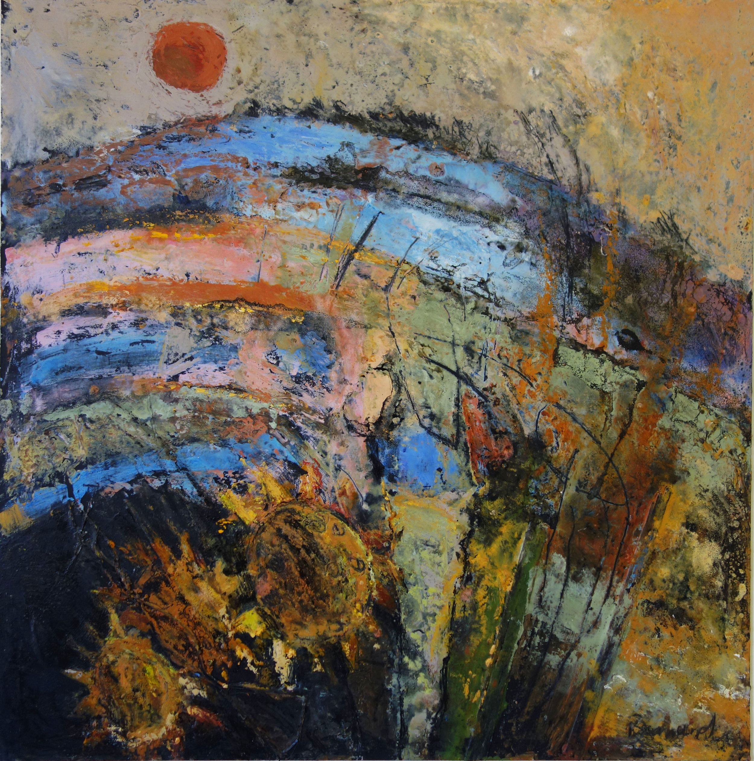 Blood Red Sun  oil based mixed media  68cm x 68cm  sold