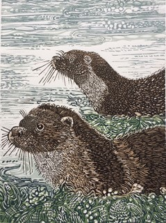 Mother and Cub in the Voe  linocut   £120.00