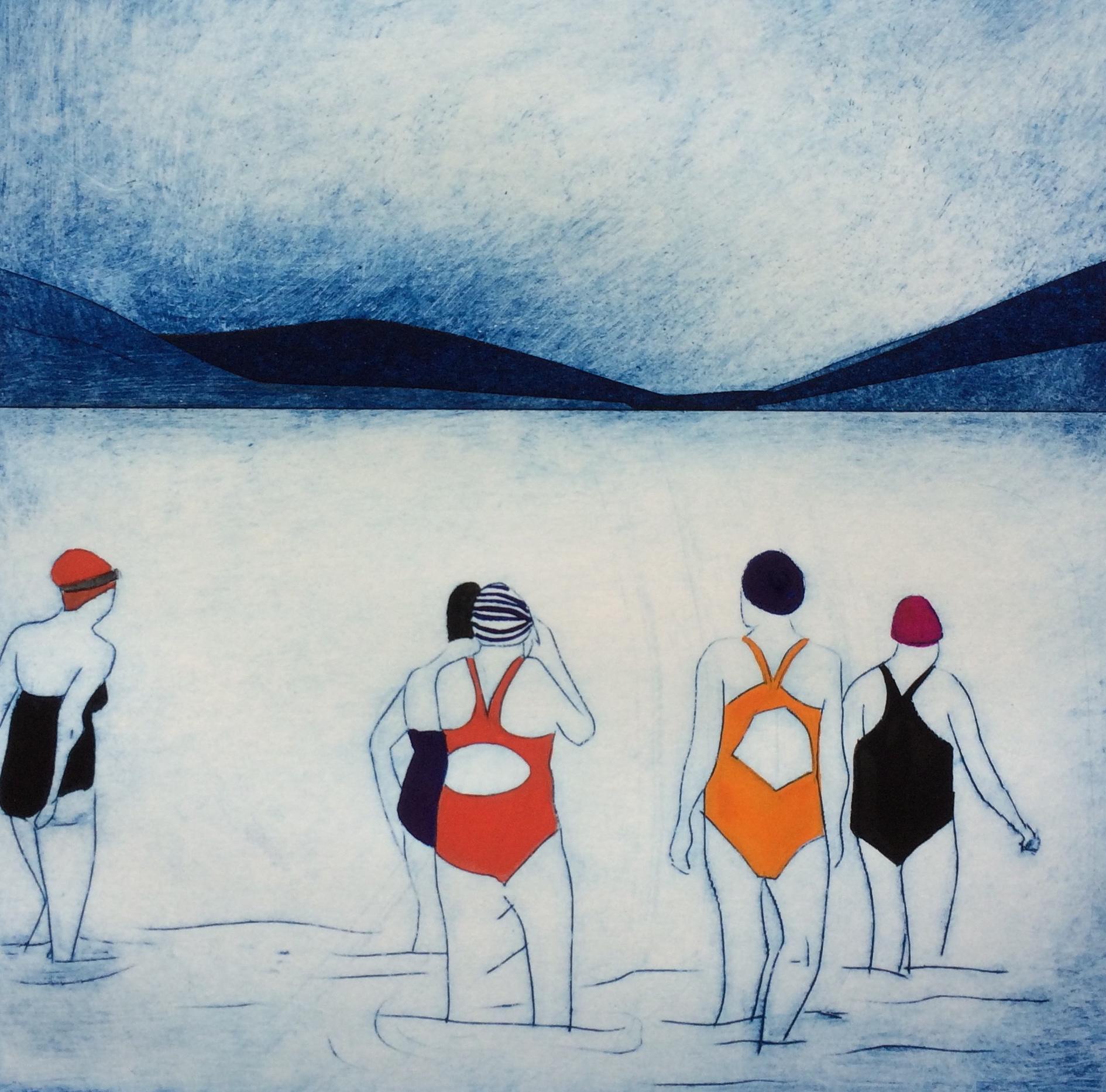 Swim Club  Collagraph print with gouache  30x30cm  Unframed £80  Framed £120