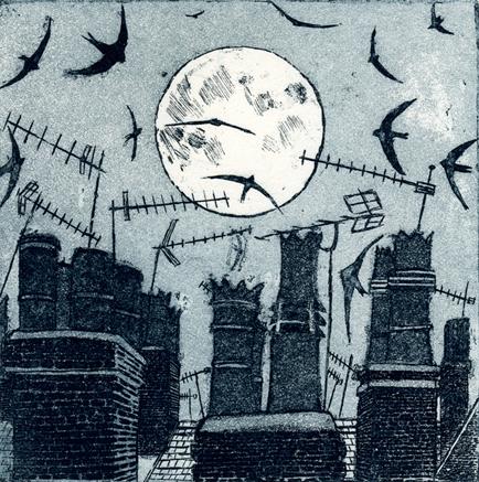 Night Flying   etching
