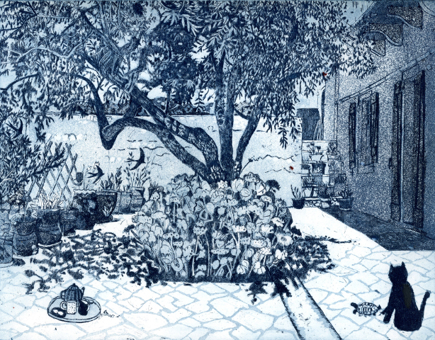 Under the Almond Tree   etching