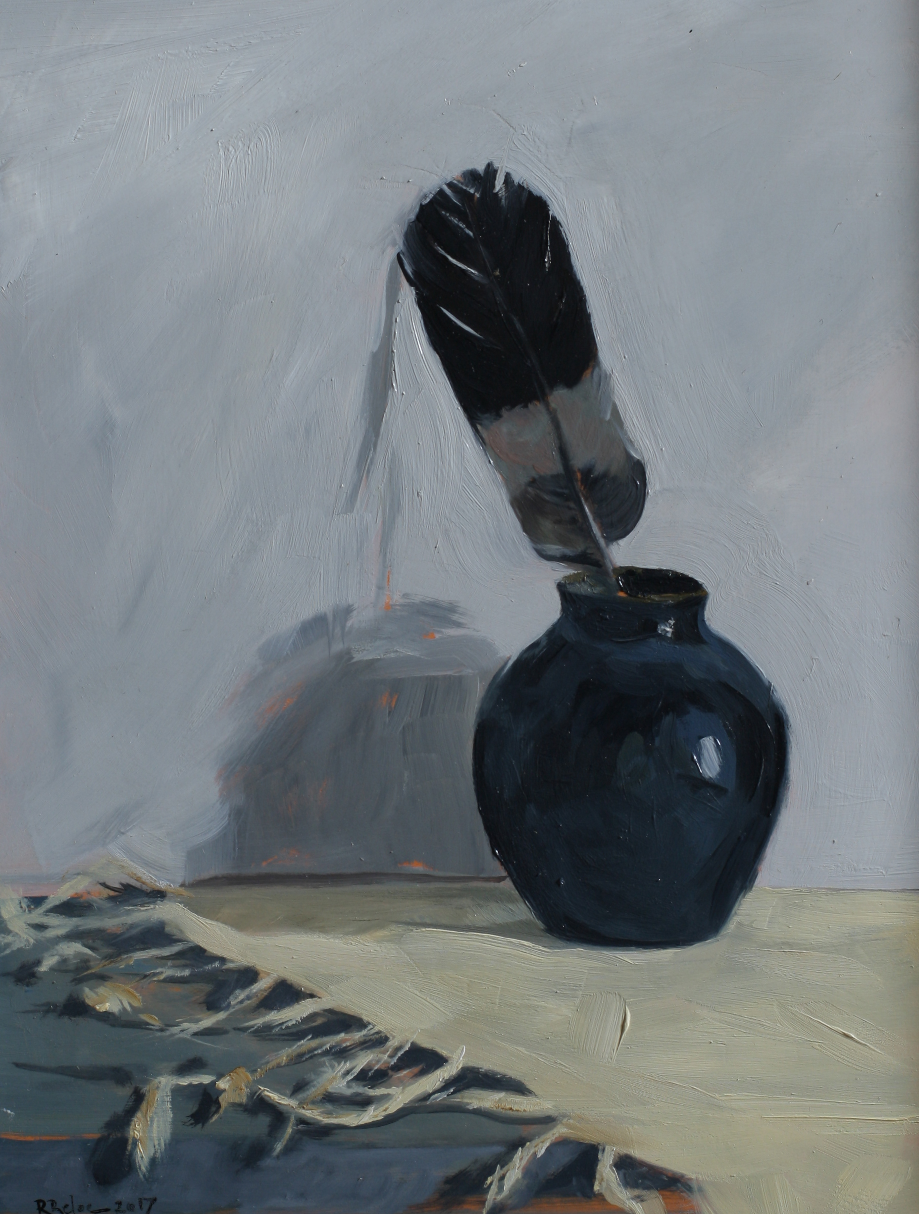 Feather in a Vase  oil on gesso panel  18 x 24  £525