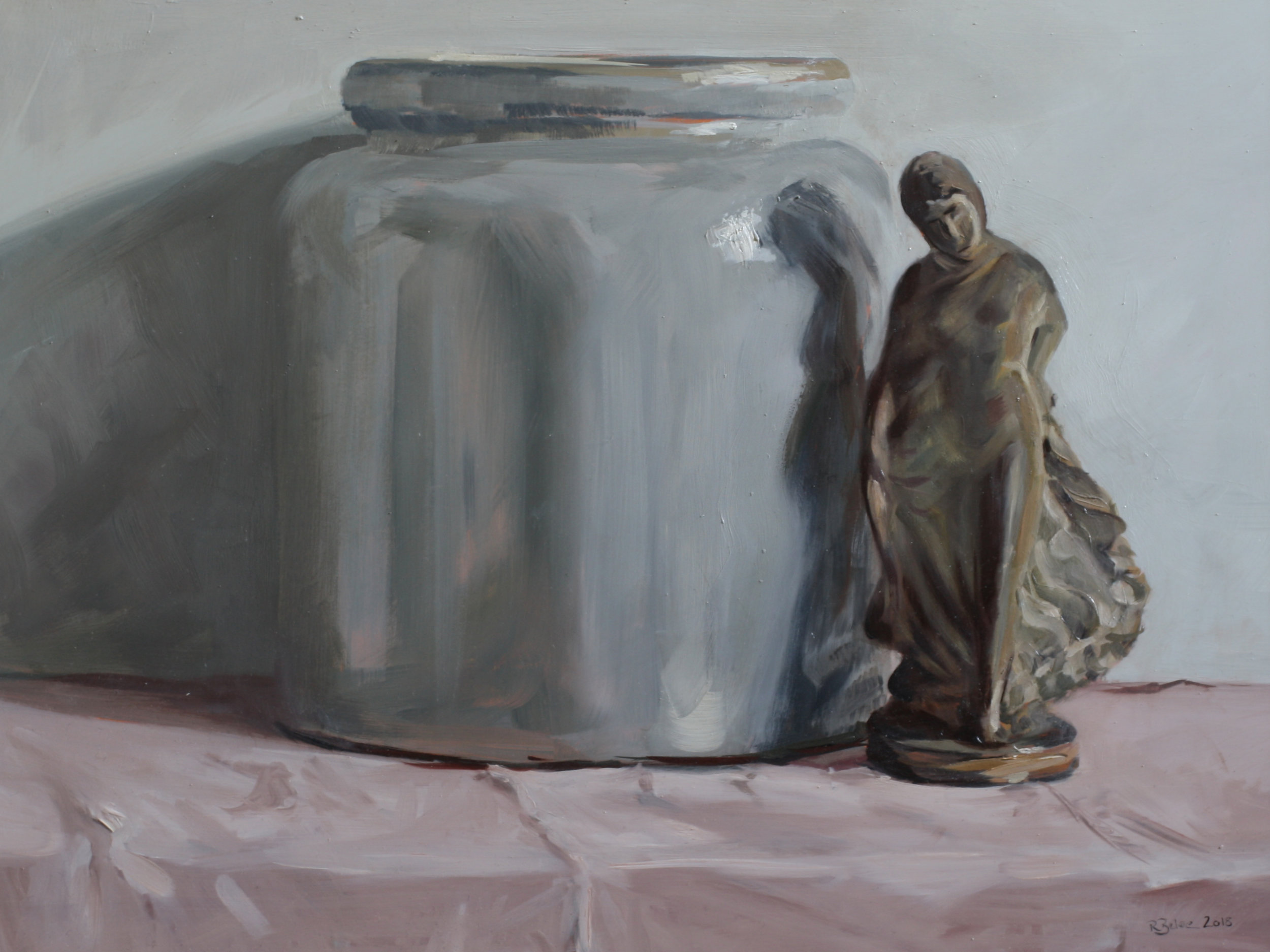 Confit Pot and Terracotta Figurine I  oil on gesso panel  30 x 40cm painting size  45 x 55cm frame size  £850
