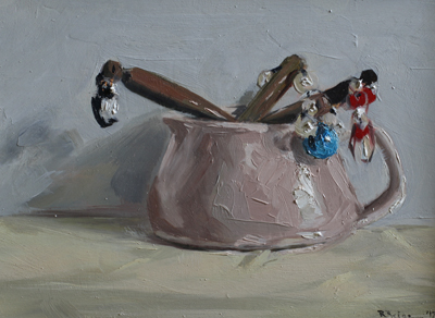 Jug and Lace Bobbins  oil on gesso panel  13 x 18  £415