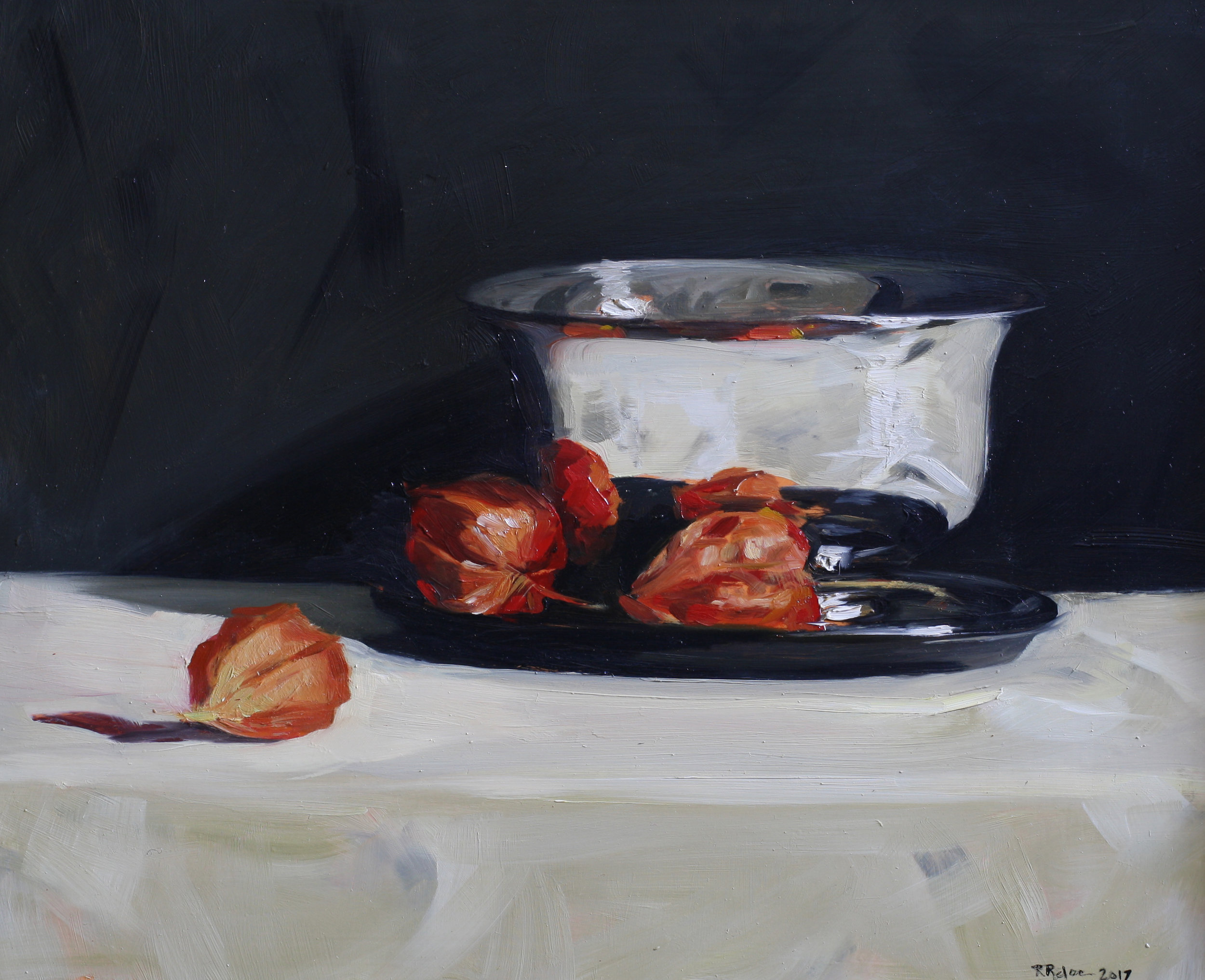 Silver Bowl and Chinese Lanterns  oil on gesso panel  24 x 30  £685