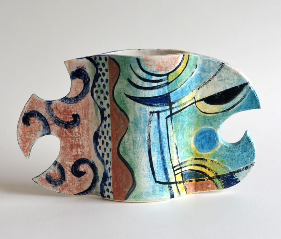 Vase side 2  grogged stoneware  19 x 33 x 5 cm  SOLD