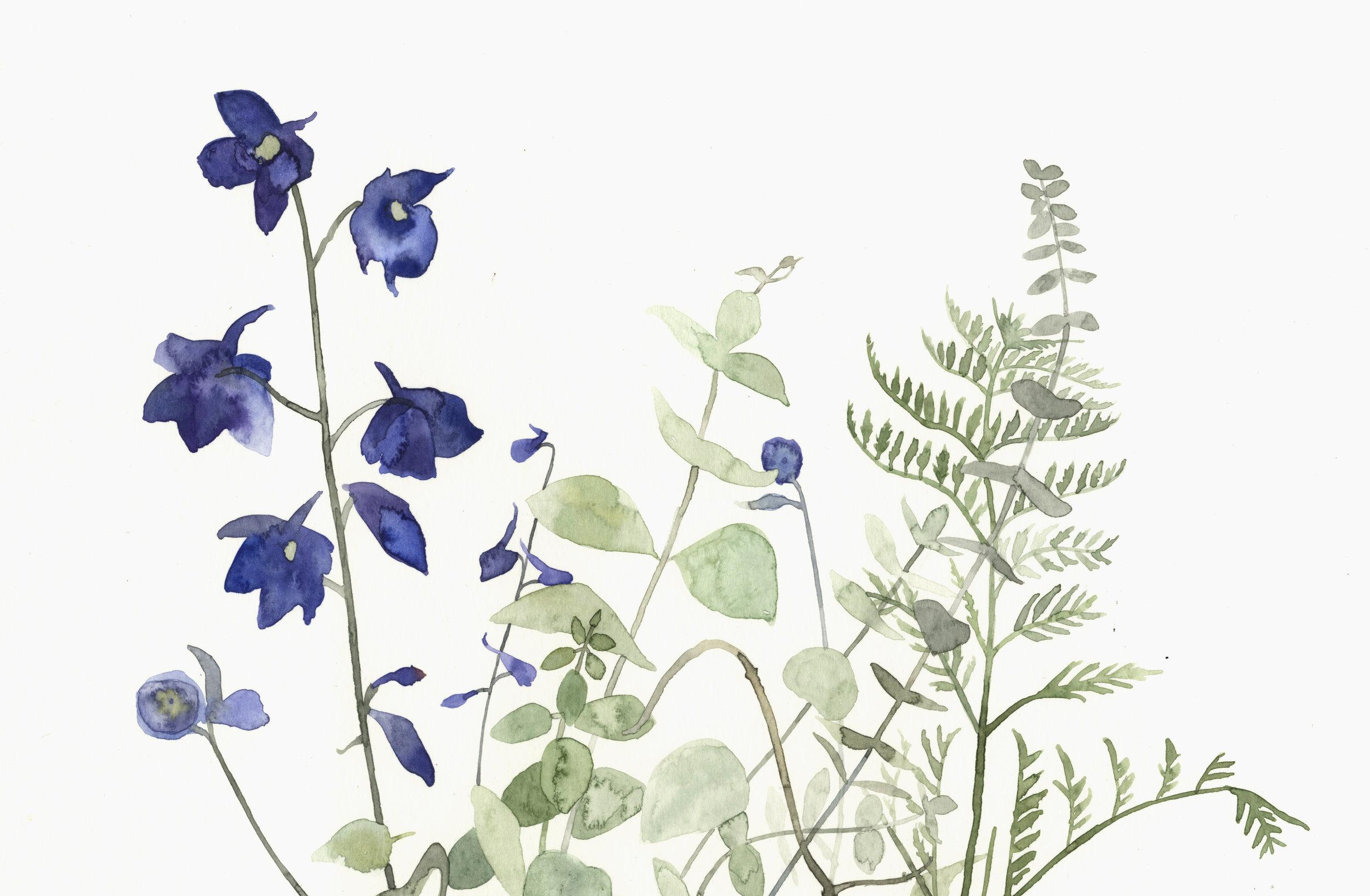 Blue flowers  watercolour  40 x 30cm framed  £290