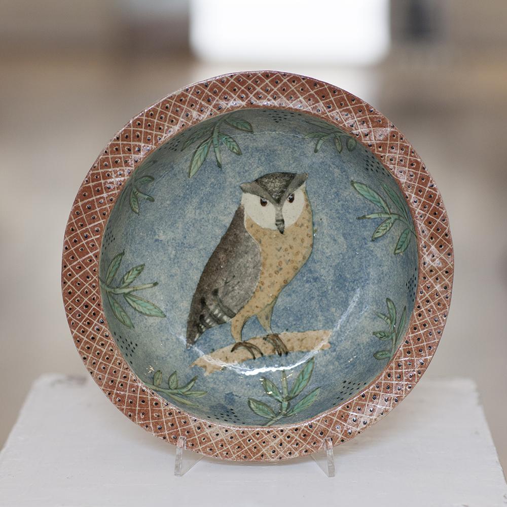 Owl Dish  ceramic  5cm x 23cm  sold
