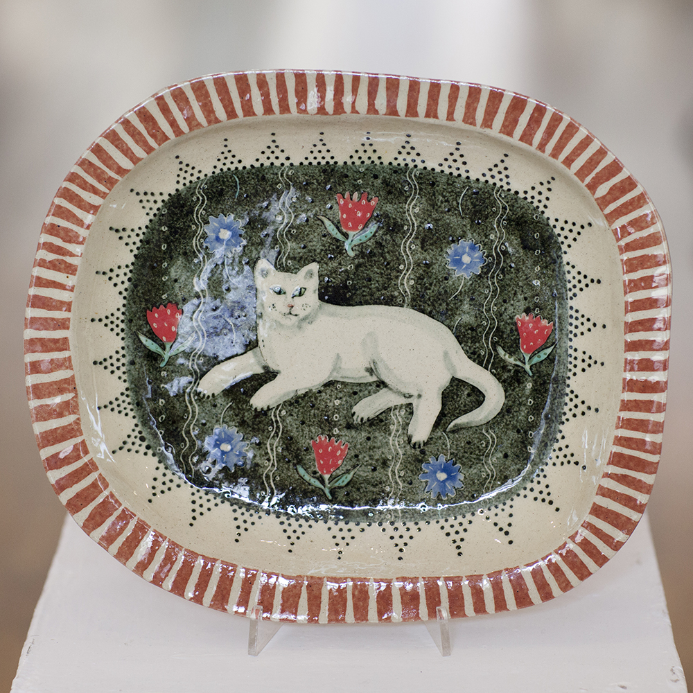 Cat on Mat Dish  ceramic  3cm x 30cm  sold