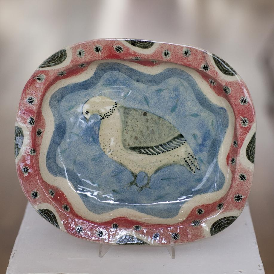 Blue Crested Pigeon Dish  ceramic  4cm x 29cm  sold