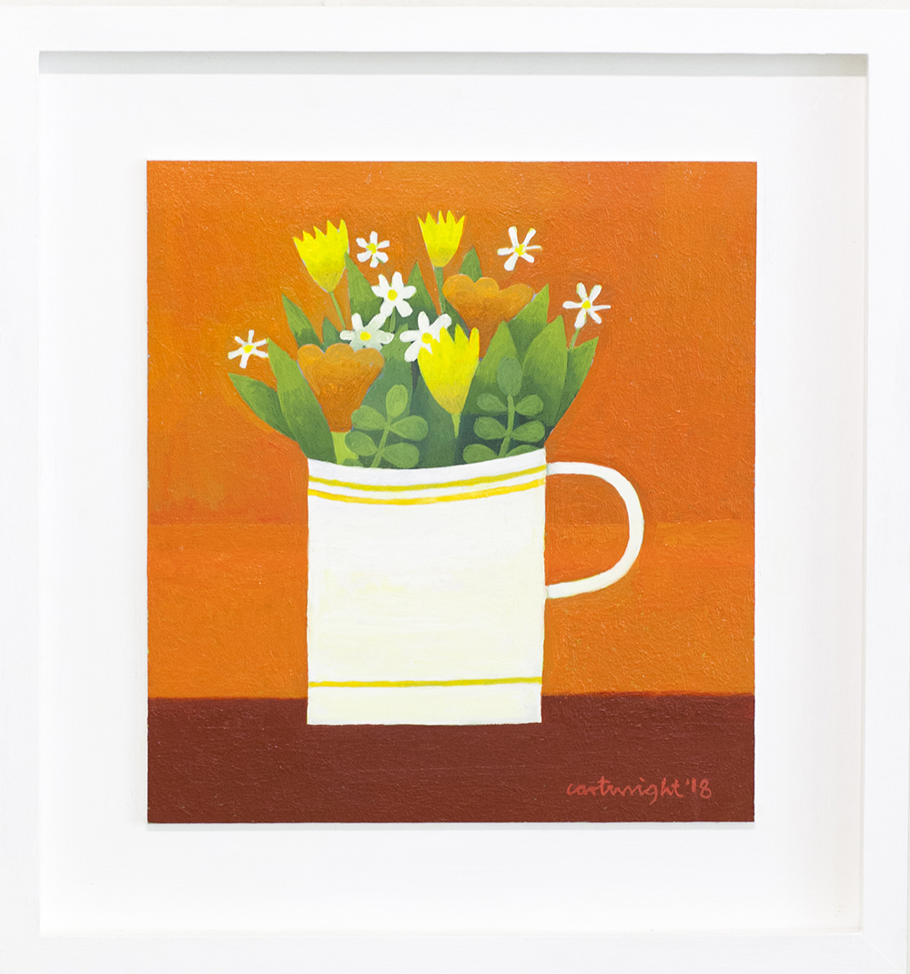 Flowers in a Mug  oil on board  28 x 31 cm  sold