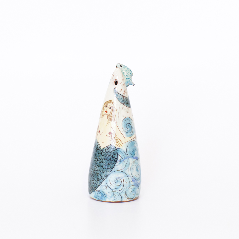 Mermaid and Jumping Fish Salt Shaker  ceramic  4cm x 11cm  sold