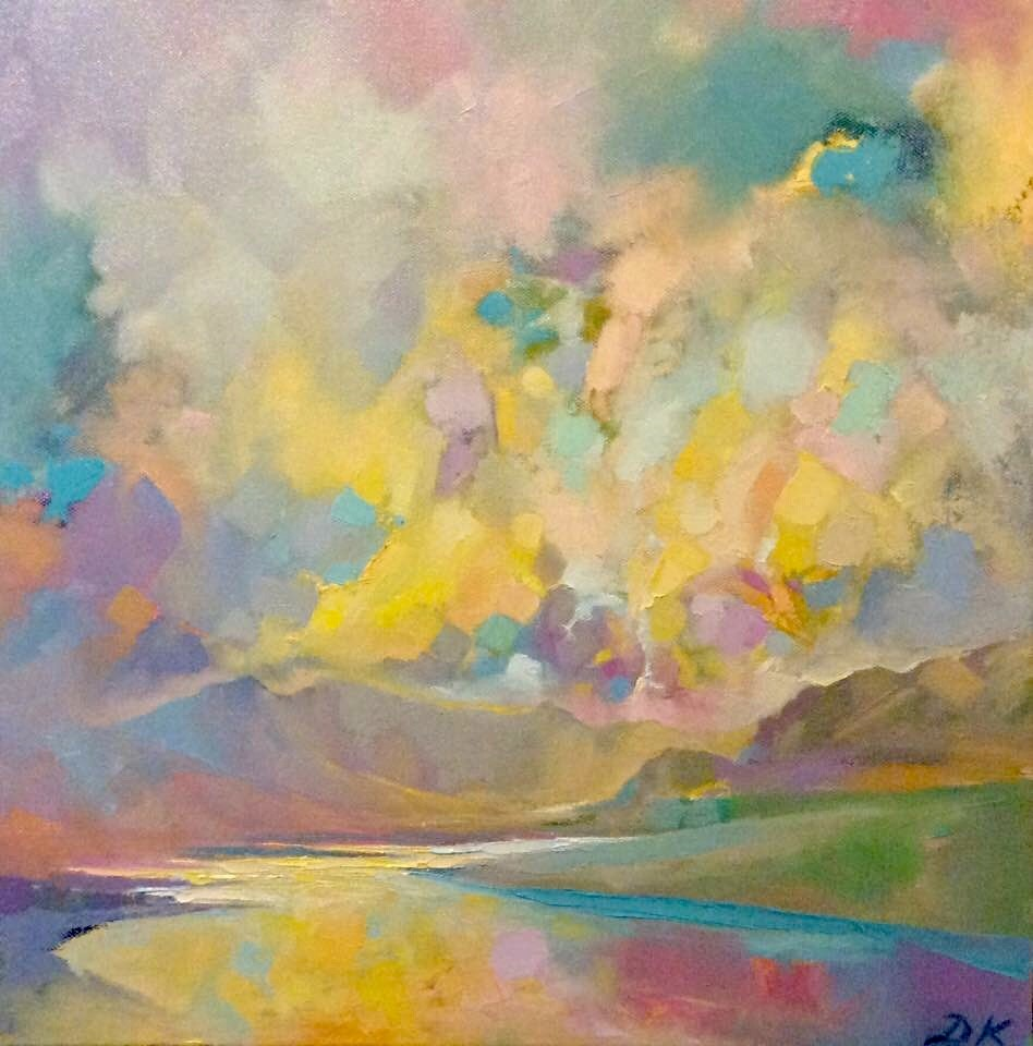 Isle of Skye Beauty  Oil & Acrylic on canvas  40 x 40 cm framed  sold