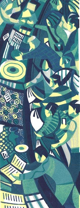 Market Scrum   linocut   35cm x 13cm