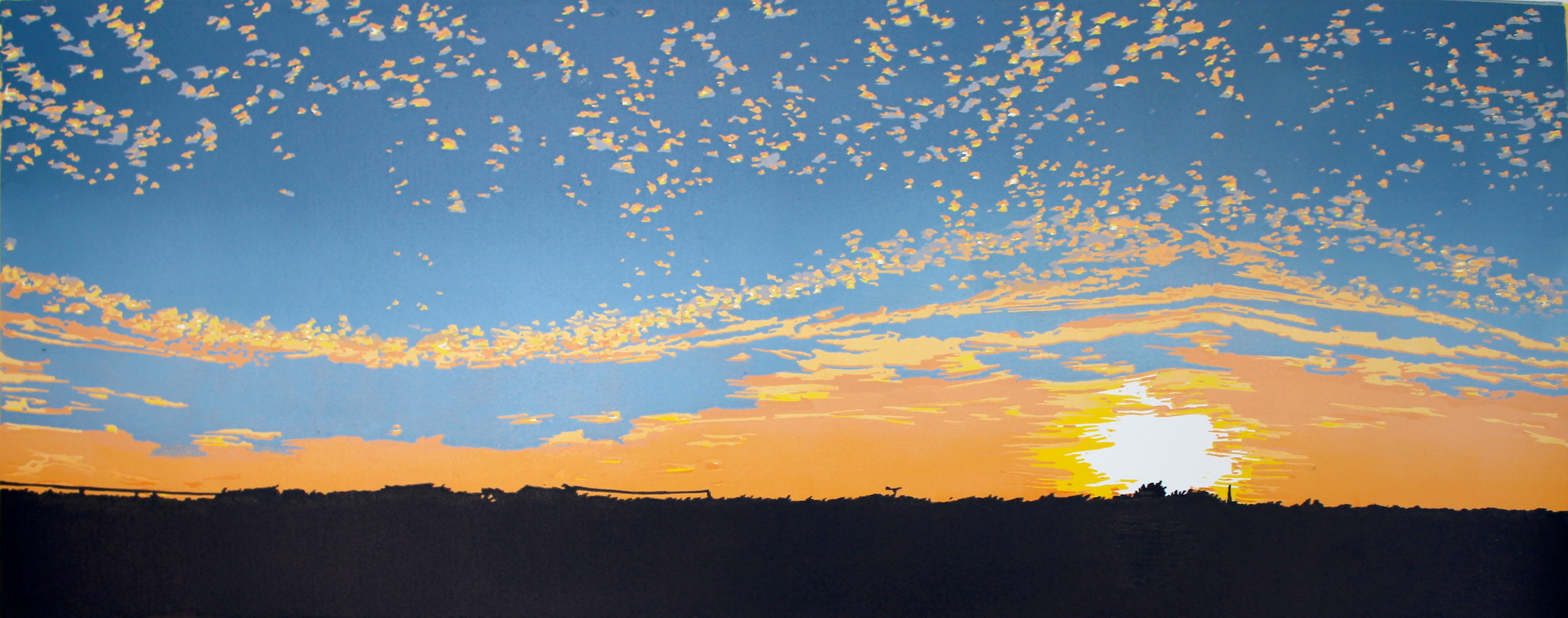 October Dusk  reduction  linocut   43 x 86cm image size  £280