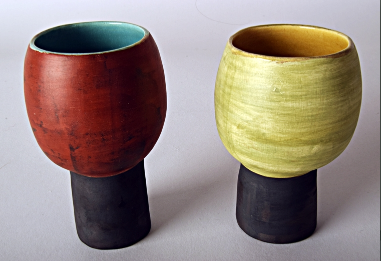 Coloured Goblet  ceramic  13 x 8 cm approx.  £75 each