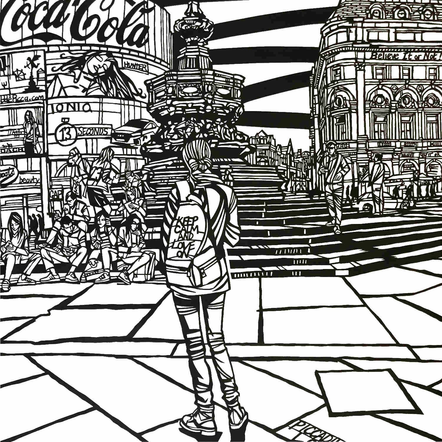 Piccadilly Circus, London  papercut  76 x 56cm  £850