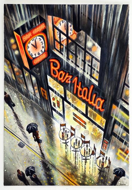 Bar Italia  Watercolour on Paper  56 x 38 cm  £1495
